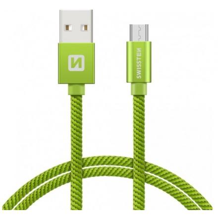 SWISSTEN TEXTILE datový kabel USB - (USB TYP C) 2m zelená