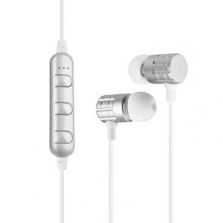 Sluchátka Bluetooth sport stereo eaphones F1 stříbrná