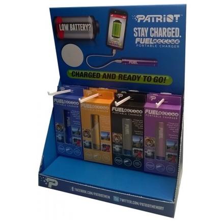 Papírový stojan na produkty Patriot, Fuel Active display