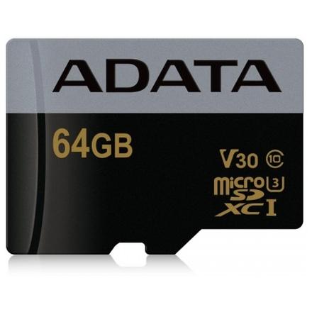 ADATA MicroSDXC 64GB U3 V30G až 95/90MB/s, AUSDX64GUI3V30G-R