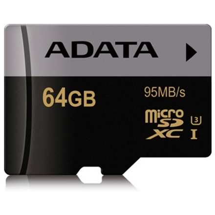 ADATA MicroSDXC 64GB U3 až 95MB/s, AUSDX64GUI3CL10-R