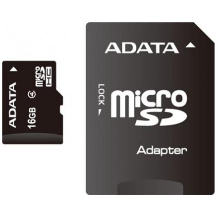 ADATA 16GB MicroSDHC Card with Adaptor Class 4, AUSDH16GCL4-RA1