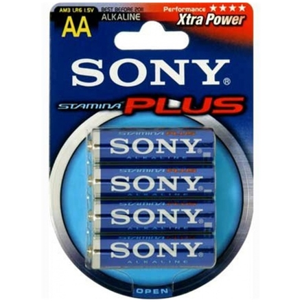 SONY Alkalické baterie AM3B4D, 4 ks LR6/AA, Stamina Plus, AM3-B4D