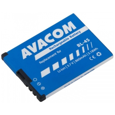 Baterie AVACOM GSNO-BL4S-S860 do mobilu Nokia 3600 Slide, 2680 Li-Ion 3,7V 860mAh (náhrada BL-4S), GSNO-BL4S-S860
