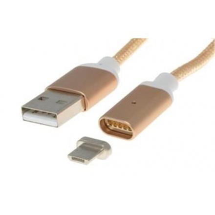 PremiumCord Magnetický micro USB 2.0, A-B nabíjecí a datový kabel 1m, zlatý, ku2m1fgo
