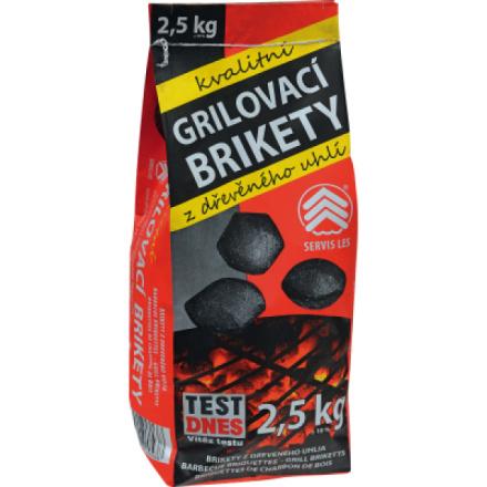 Servis Les, grilovací brikety, dřevěné uhlí, 2,5 kg