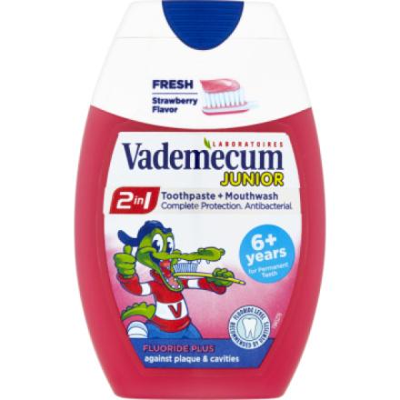 Vademecum Junior 2in1 Strawberry zubní pasta a ústní voda, 75 ml