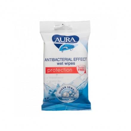 Aura antibakteriální vlhčené ubrousky na ruce, 15 ks