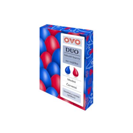 OVO Duo tekutá barva na vajíčka, modrá a červená, 2 × 20 ml