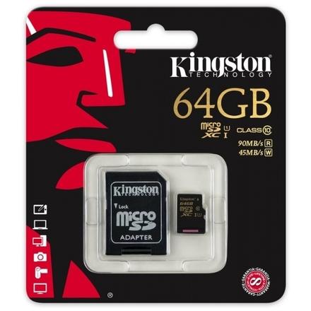 Kingston microSDXC 64GB UHS-I + adaptér SDCA10/64GB