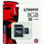 Paměťová karta Kingston microSDHC 8GB class 10 s adapterem SD