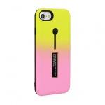 Pouzdro Ring Finger Stand Cover Iphone X žlutá-růžová 50620