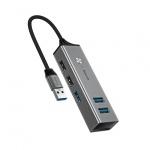 Baseus Adaptér Cube USB-USB3.0 - 3 USB2.0 - 2 HUB (CAHUB-C0G) tmavě šedá