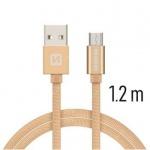 SWISSTEN TEXTILE datový kabel USB - (USB TYP C) 1.2m zlatá