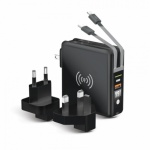 Multifunkční nabíječka Forcell 20 W 5v1 s kabelem micro USB / USB-C / bleskem, powerbankou 10 000 mAh a bezdrátovým nabíjením 15 W černá 5903396072468