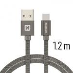 SWISSTEN TEXTILE datový kabel USB - (USB TYP C) 1.2m šedá