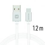 SWISSTEN TEXTILE datový kabel USB - (USB TYP C) 1.2m stříbrná 71521203