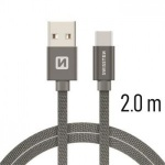 SWISSTEN TEXTILE datový kabel USB - (USB TYP C) 2m šedá