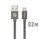 SWISSTEN TEXTILE datový kabel USB - micro USB 0.2m šedá