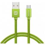 SWISSTEN TEXTILE datový kabel USB - (USB TYP C) 1.2m zelená