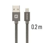 SWISSTEN TEXTILE datový kabel USB - (LIGHTNING) 0.2m šedá 71523102
