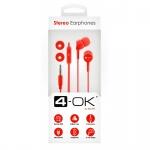 Sluchátka 3,5 mm jack, 4-OK EAR colors červené 94453