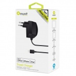 MUVIT Travel Charger for Apple iPhone 5/5S/SE,6,7,8,X and iPod 5, Lightning connector, MFI, 1A, black