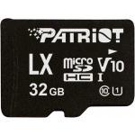 32GB microSDHC Patriot V10, class 10 U1 až 80MB/s + adapter, PSF32GLX1MCH