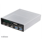 AKASA USB 3.0 čtečka karet s eSata a USB panelem, AK-ICR-17
