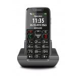 EVOLVEO EasyPhone, mobilní telefon pro seniory s nabíjecím stojánkem (černá barva), EP-500-BLK
