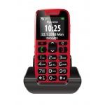 EVOLVEO EasyPhone, mobilní telefon pro seniory s nabíjecím stojánkem (červená barva), EP-500-RED