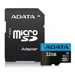 ADATA MicroSDHC 32GB UHS-I 85/20MB/s + adapter, AUSDH32GUICL10A1-RA1