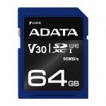 ADATA SDXC 64GB UHS-I U3 V30S 95/60MB/s, ASDX64GUI3V30S-R