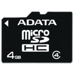 ADATA 4GB MicroSDHC Card with Adaptor Class 4, AUSDH4GCL4-RA1