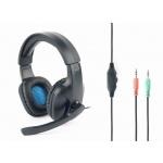 Gembird Gaming headset, černá/modrá, GHS-04