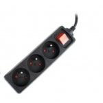 GEMBIRD prodlužovačka 3FR/10A/C14, 0,6m, černá, EG-PSU3F-01