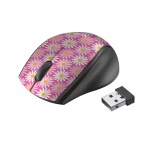 myš TRUST Oni Wireless Micro Mouse - pink flower, 21156