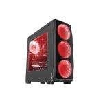 Počítačová skříň Genesis Titan 750 RED MIDI (USB 3.0), 4 ventilátory s červeným podsvícením, NPC-1125