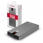 AXAGON PWB-L10, ALU SLIM Powerbanka Li-Pol 10000mAh, LCD displej, PWB-L10