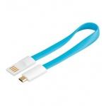 PremiumCord Kabel micro USB 2.0, A-B 0,2m magnetický, barva modrá, ku2m02fmb