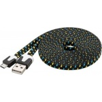 PremiumCord Kabel micro USB 2.0, A-B 2m, plochý textilní kabel, černo-modro-žlutý, ku2m2ft1