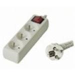Premiumcord Prodlužovací přívod 230V, 2m, 3 zásuvky + vypínač, PP3K-02