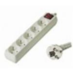 Premiumcord Prodlužovací přívod 230V, 2m, 5 zásuvek + vypínač, PP5K-02