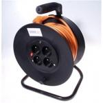 PremiumCord Prodlužovací kabel 230V 50m buben, průřez vodiče 3x1,5mm2, 4x zásuvka, ppb-01-50