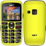 iGET SIMPLE D7 Yellow, seniorský, Bluetooth, FM rádio, kamera, svítilna,výdrž 15 dní,microSD,stojánek, D7 Yellow