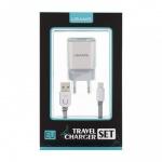 USAMS Dual 2.4A USB Cestovní Dobíječ + U-Trans microUSB Kabel White/Grey, 8595642270833 - neoriginální