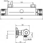 Sprchová termostatická baterie 150 mm Aquamat chrom 2660/1,0