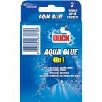 Duck 4v1 Aqua Blue Efekt modré vody, WC závěsný čistič, náhradní náplň, 2 × 40 g