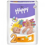Bella Happy Mimi (2), dětské pleny jednorázové, pro děti od 3 do 6 kg, balení 38 ks