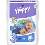 Bella Happy Midi (3), dětské pleny jednorázové, pro děti od 5 do 9 kg, balení 52 ks